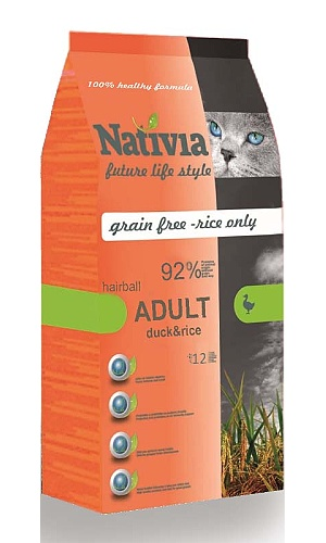 NATIVIA Cat Adult Duck&Rice Hairball 10kg