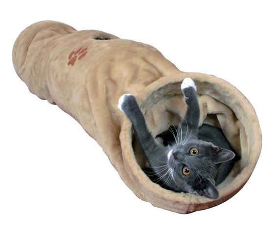 Plyšový tunel pro kočky 25x125cm