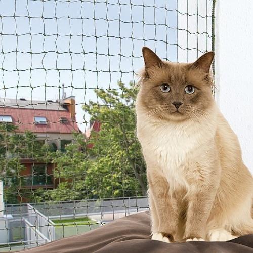 Ochranná síť pro kočky 4x3m olivová, zesílená