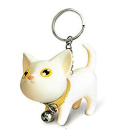 Přívěsek na klíče - bílá kočka