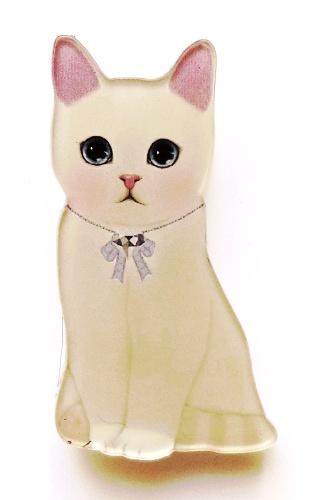 Brož kočka plexi - bílá kočka