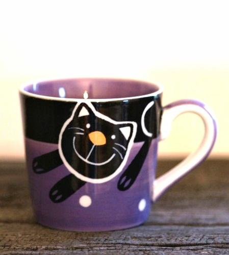 Hrnek na espresso s kočkou 0,2l fialový