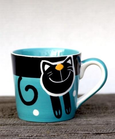 Hrnek na espresso s kočkou 0,2l modrý