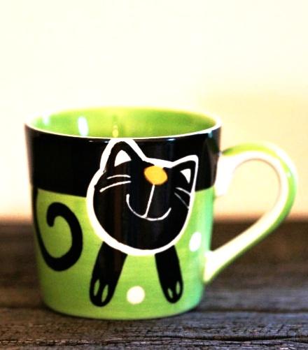 Hrnek na espresso s kočkou 0,2l zelený