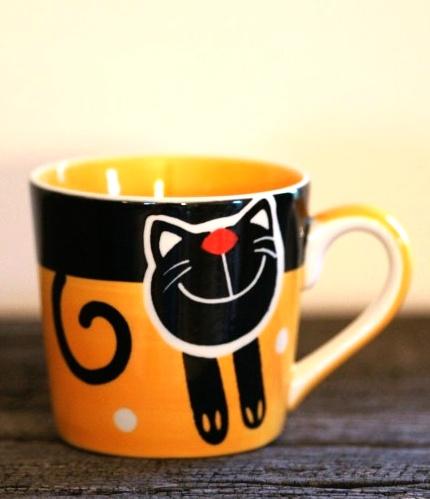 Hrnek na espresso s kočkou 0,2l žlutý