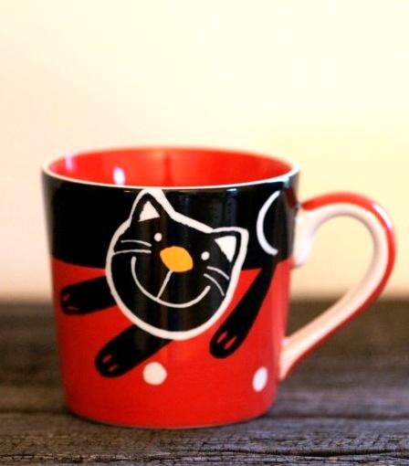 Hrnek na espresso s kočkou 0,2l červený